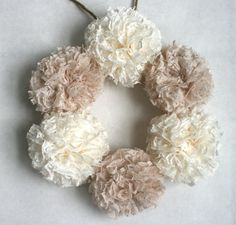 "Lace Pom Pom Wreath, 9""  Wreath, Nursery Decor, Wedding Decor, Shower…"