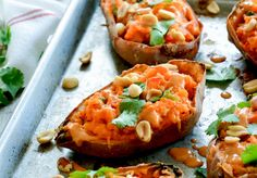Thai-flavored sweet potato skins topped with peanut sauce that are perfect for game day or any day.