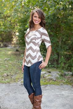 Khaki Striped Buttons Pockets Round Neck Slim T-Shirt - T-Shirts - Tops