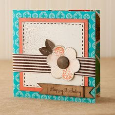 "Try shrinking your scrapbook patterns by half to create 6"" x 6"" cards! #CTMH"