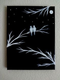 Black and White Acrylic Painting Canvas Art Love Bird Silhouette Canvas M . - Painting Ideas - Crafts - Black and White Acrylic Painting Canvas Art Love Bird Silhouette Canvas M . Canvas Painting Projects, Easy Canvas Painting, Heart Painting, Diy Canvas, Diy Painting, Acrylic Canvas, Canvas Ideas, Beginner Canvas Painting Ideas, Easy Paintings For Beginners