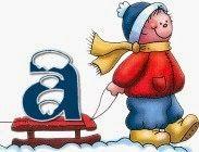 Alfabeto de niño con trineo.