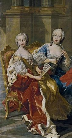 The Family of Phillip V of Spain by Louis Michel van Loo, 1743 detail showing the Princess of Brazil (Mariana Victoria of Spain) and the Princess of Asturias (María Bárbara of Portugal)