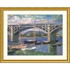 Great American Picture Railway Bridge, Near Argenteuil Gold Framed Print - Claude Monet - 62280-Gold
