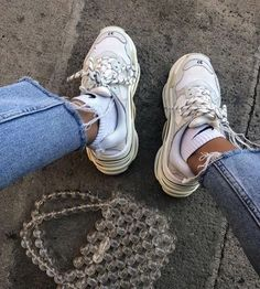 Letter Tape Lace-Up Sneakers Dad Shoes, Me Too Shoes, Sock Shoes, Cute Shoes, Cool Outfits, Fashion Outfits, Womens Fashion, Fashion Clothes, Fashion Fashion