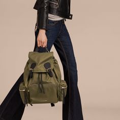 7901c3f2bb0 The Large Rucksack in Technical Nylon and Leather Canvas Green   Burberry  Burberry Rucksack, Burberry