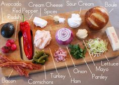 """Ingredients for the Scandinavian-Inspired """"Avacado and Bacon Club Sandwich Cake"""" Bacon Sandwich, Sandwich Cake, Party Sandwiches, Tapas, Pepper Spice, Ham Salad, Avocado Cream, Scandinavian Food, Traditional Cakes"""