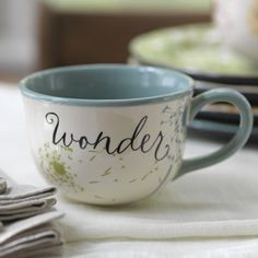 """Great gift for any occassion but especially FATHER'S DAY.  Mug inscribed with """"Wonder"""" Product # 84654 Reg 12. now sale $8  Verse ~The whole earth is filled with awe at Your wonders. PSALM 65:8  http://myblessingsunlimited.net/operationblessingbrigade  go to shop at top right, then go to left side bar and click on JUNE SUPER SALE.  You will find all the products on sale there. These are FAITH-BASED GIFTS & HOME DECOR"""