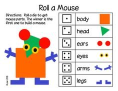 "Roll a Mouse... I love this activity and there are lots of printables to go with it.  Use the book ""Mouse Shapes"" along with this activity. Kindergarten Art, Preschool Math, Math Classroom, Fun Math, Teaching Math, Teaching Ideas, Math Stations, Math Centers, Learning Centers"