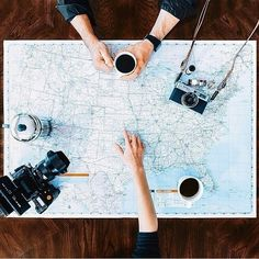 Travel, map, and coffee.