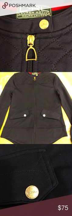 Ralph Lauren Navy Blue Quilted Equestrian Jacket NWT. So cute with rounded hem and quilted detail at shoulders. Ralph Lauren Active: Ralph Lauren Jackets & Coats Utility Jackets
