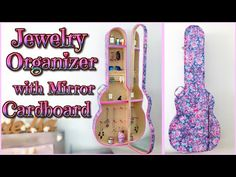 DIY ROOM DECOR - jewelry ORGANIZER cabinet with mirror - GUITAR CASE - Isa ❤️ - YouTube [Apply concept to thrifted guitar case and compressed wood]