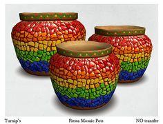 Turnip's fiesta mosaic pots.    Click to teleport    http://maps.secondlife.com/secondlife/Lula/62/95/1001