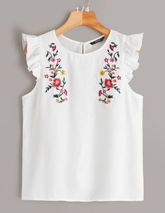 To find out about the Embroidered Floral Ruffle Armhole Blouse at SHEIN, part of our latest Blouses ready to shop online today! Embroidered Clothes, Embroidered Blouse, T-shirt Broderie, Hand Painted Dress, Summer Blouses, Types Of Shirts, Blouses For Women, Floral Tops, Embroidery