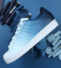 eba0da3215ac6 Navy blue ombre adidas superstar custom shoes
