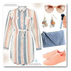 """Blue Vanilla Orange Cream Stripe Shirt Dress"" by queenvirgo on Polyvore featuring H&M, adidas Originals, Chloé, New Look and Bobbi Brown Cosmetics"