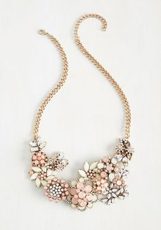 Vow to Wow Necklace in Carnation - Bridesmaid, Bride, Statement, Better, Pink, Rhinestones, Pastel, Gold, Variation, Gals, Special Occasion, Wedding, Best Seller, Best Seller