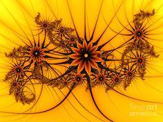 Digital Art Digital Art - Fantasy Flowers On A Yellow Background by Gabiw Art