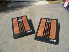 Jeep Tire tread Cornhole boards check out MCB… Jeep Wedding, Jeep Gifts, Diy Cornhole Boards, Tire Tread, Jeep Mods, Cool Jeeps, Mopar Or No Car, Jeep Accessories, Jeep Wrangler Unlimited