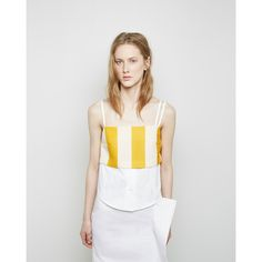 Jacquemus La Brassiere Transat Pop Shirt (€155) ❤ liked on Polyvore featuring tops, button front shirt, beach crop top, beach tops, white striped shirt and white crop shirt