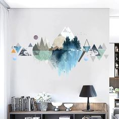 Landscape Wall Decals Crafts Decals Landscape thrifted home decor diy Wall Room Wall Painting, Mural Painting, Wall Paintings, Wall Painting Design, Bedroom Murals, Bedroom Decor, Bedroom Wall Stickers, Office Wall Decals, Kitchen Wall Decals