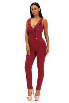 Wine Sleeveless Button Sides Bodycon Jumpsuit