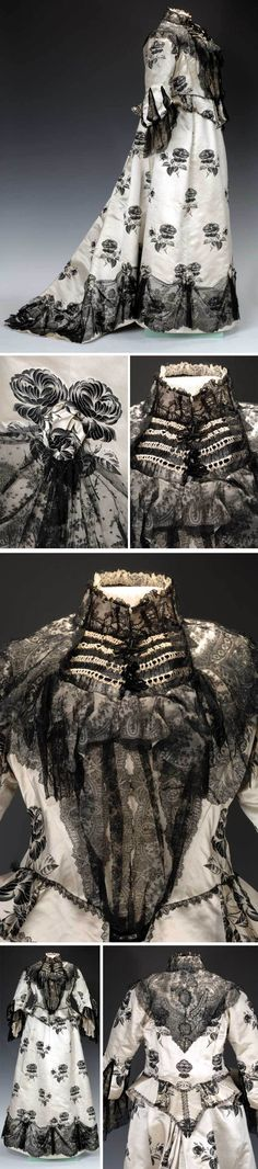 Afternoon dress, ME Clancy, New York, ca. 1895-1900. Silk satin brocade in leaf pattern, trimmed with black lace. Cut is smooth in front and flat, pleated back, creating trumpet-shaped skirt with short train. Fenimore Art Museum via The Clothing Project Tumblr