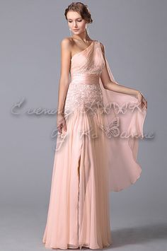 One Shoulder High Slit Evening Gown With Flowy Sash Prom Dresses, Formal Dresses, Spring Summer 2015, Sash, Evening Gowns, Custom Made, One Shoulder, Wedding, Outfits