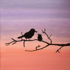 Bird Silhouette Painting Branch Feeding Baby Bird Sunset Birds Painting on Canvas