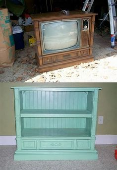 TV Cabinet repurpose- use Casey's uncle's old TV to make something new? Refurbished Furniture, Repurposed Furniture, Furniture Makeover, Painted Furniture, Refurbished Cabinets, Furniture Projects, Furniture Making, Diy Furniture, Tv Cabinet Redo