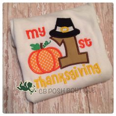 """Perfect for any baby shower or new baby! Our fabulous """"My 1st Thanksgiving"""" onesie is a must have for this Thanksgiving. Solid embroidery. Quick turn around time.   https://www.etsy.com/listing/242577546/my-first-thanksgiving-onesie?ref=shop_home_active_2"""
