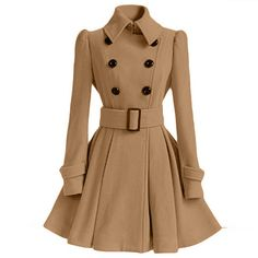 Flared Hem Turn-down Collar Slim Double Button Wool Coat With Belt