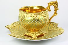 Coalport Jewelled Cup and Saucer