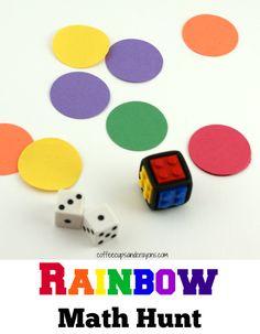 rainbow math hunt Addition Activities, Math Activities For Kids, Learning Games For Kids, Math Classroom, Fun Math, Math Games, Preschool Activities, Math Addition, Kindergarten Math