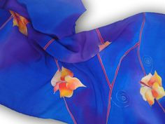 Hand painted silk neckerchief with irises in blue. by SilkAgathe