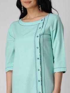 Turquoise Khadi Cotton Kurta
