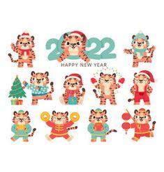 New Year Illustration, Cute Animal Illustration, Graphic Illustration, Animal Illustrations, Happy Chinese New Year, Happy New Year, Santa Hat Vector, New Year Symbols, Seasons Activities