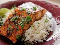 Cilantro Lime Salmon recipe from Ree Drummond via Food Network SS: made this and everyone really liked it. Jason even liked it better than the hoisin salmon recipe. He especially liked the cilantro lime rice. Lime Salmon Recipes, Fish Recipes, Seafood Recipes, Lime Cilantro Salmon, Smoker Recipes, Ree Drummond, Food Network Recipes, Cooking Recipes, Healthy Recipes