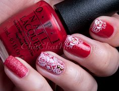 ChitChatNails » Blog Archive » Red, Hot and Lacy.  Opi . Red. Pueen Stamping nail art.