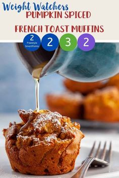 These easy to make Pumpkin Spiced French Toast Muffins are 2 SmartPoints (Blue Ww Recipes, Low Calorie Recipes, Fall Recipes, Skinny Recipes, Weight Watchers Pumpkin, Weight Watchers Desserts, Ww Desserts, Dessert Recipes, Breakfast Recipes