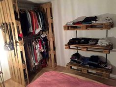 Pallet Corner Closet with Shelves - 20 Pallet Ideas You Need To DIY Now | 101 Pallet Ideas