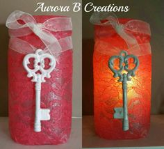 Vintage inspired coral lace luminary