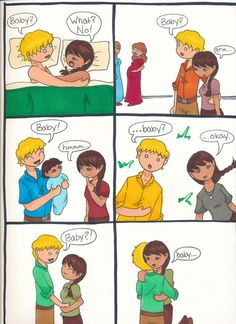 """**SPOILER!!** Katniss has different baby feels. I suppose the implication in the third panel is that Peeta Mellark is just running around town snatching strangers' babies and showing them to Katniss. """"You're that mentally disoriented kid from TV! Of course you can hold my infant!"""""""