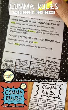 Do your students know how to use commas in a sentence? Use this interactive notebook flip book to review rules for comma usage with middle and high school ELA students. The quick reference guide has engaging sports-themed mentor sentences for a review lesson on correct punctuation.