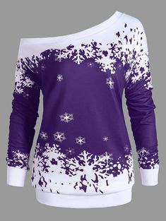 Plus Size Skew Neck Christmas Snowflake Sweatshirt - PURPLE XL Winter Tops 5dd63ed0c16a