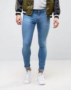 bee7b334bd DESIGN extreme super skinny jeans in mid blue