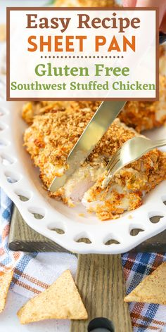 A gluten free dinner that is something the whole family will love. Easy and delicious with a low carb southwest cream cheese filling. This easy sheet pan chicken dinner is sure to be a winner in your family! Enjoy this cozy, high protein dinner!