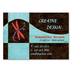Red Winged Dragonfly: Designer Business Cards
