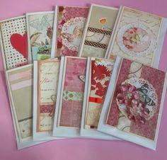 Cartões artesanais usando papeis para scrapbook