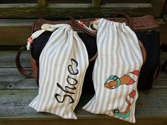 2 Striped Linen Shoe Bags hand-painted and Stamped by HollysHats